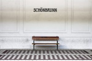 Bench in a subway station platform of Schonbrunn - Wien - Austria