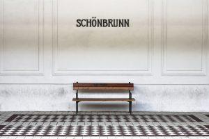 Bench in a subway station platform of Schonbrunn - Wien - Austria